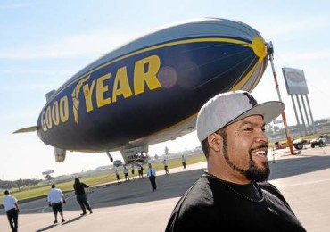 Actor/rapper Ice Cube visited the Goodyear Airship Operations airfield in Carson Monday to add support to a charity effort for A Place Called Home, a local non-profit group that helps kids stay in school and prosper. A $25,000 check was presented to the group. Ice Cube's name was placed in lights on the blimp, recalling lyrics to one of his songs. (Brad Graverson / Staff Photographer)