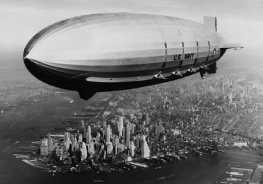 The USS Macon is shown as it sails over lower Manhattan