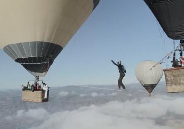 Slackline Walking Between Balloons