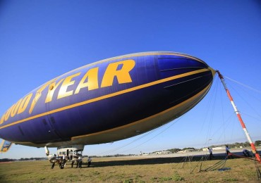 The Goodyear's Spirit of Goodyear Blimp is grounded and secured to the mast at the New Smyrna Beach Airport Monday, February 17, 2014. The legendary dirigible will be making its final flights over the Daytona 500.