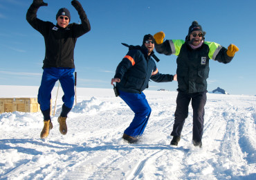 Members of the BARREL team in Antarctica jump up and down in what they call the Low Wind Dance as they hope for the low wind conditions needed to launch another balloon.