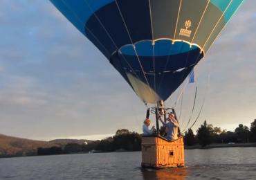 balloon tows kayak