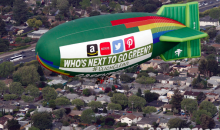 Greenpeace blimp campaigns for greener internet